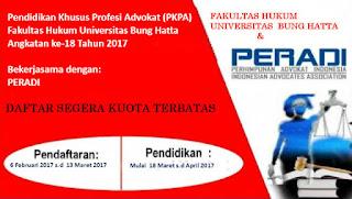 Pendaftaran PKPA UBH 2017