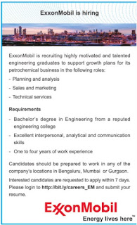 freshers jobs in exxonmobil
