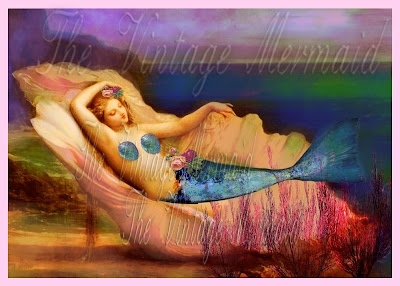 venus mermaid reclining in beautiful seashell by the sea