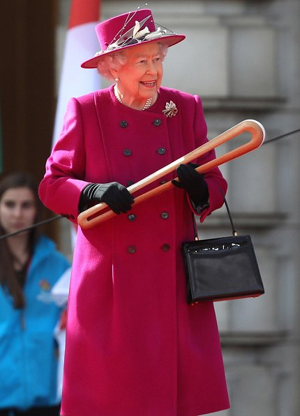 Queen Elizabeth II attended the launch of The Queen's Baton Relay for the XXI Commonwealth Games at Buckingham Palace