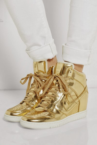 e1fe1e828889 Sports Wedge Shoes  Gold Nike Shoes Dunks Sky High Increasing Heels ...