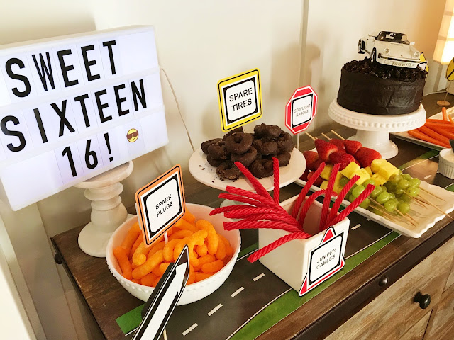 Clever snacks at a 16th Driving Party @michellepaigeblogs.com