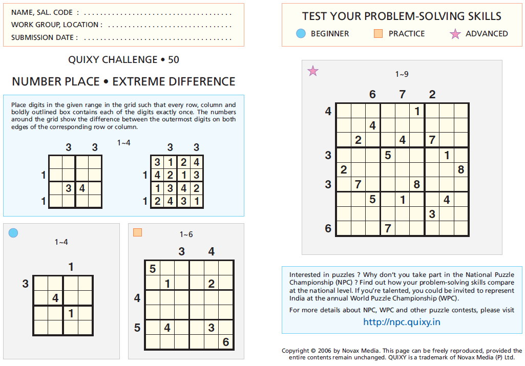 EXTREME DIFFERENCE SUDOKU (QC-50)-Fun With Puzzles