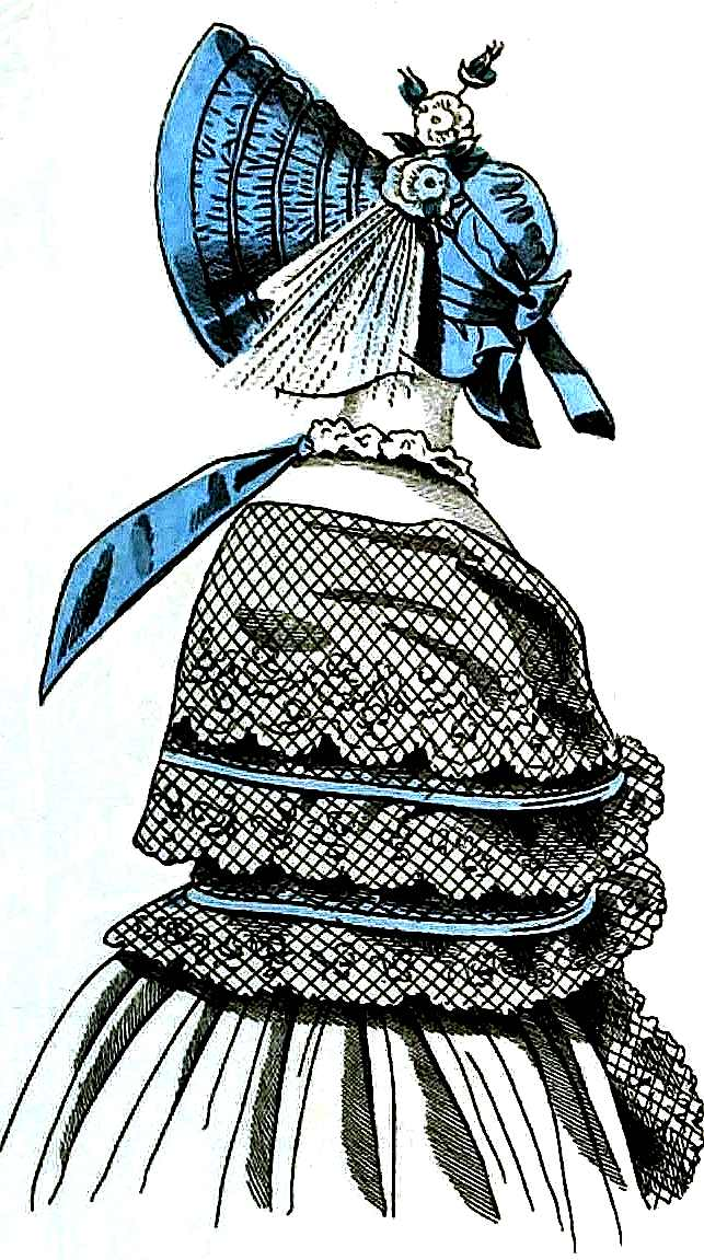 a color illustration from an 1839 fashion publication, blue bonnet