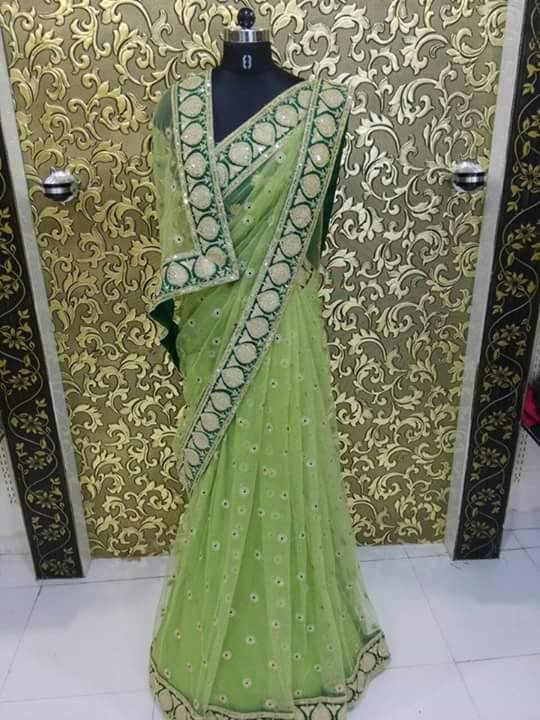 Net Saree With Heavy Coding Embroidery Work Buy Online Designer