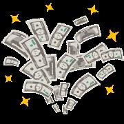 増えるお金のイラスト(100ドル札)