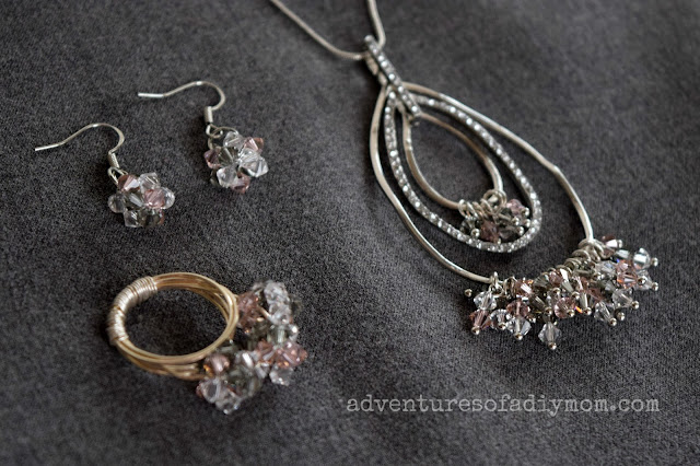 Necklace, ring and earrings with Swarovski crystals