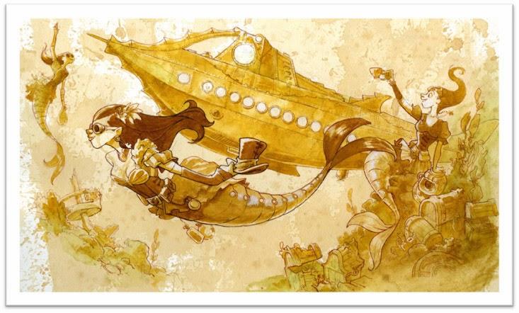 Brian Kesinger Journey through liquid aether Mechanical Kingdom Steampunk Nautilus Mermaid Art Artist print Walt Disney world WDW Disneyland