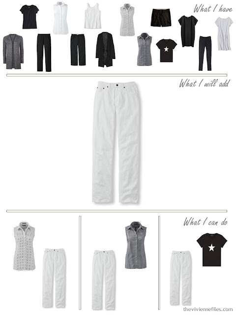add a pair of white jeans to a travel capsule wardrobe