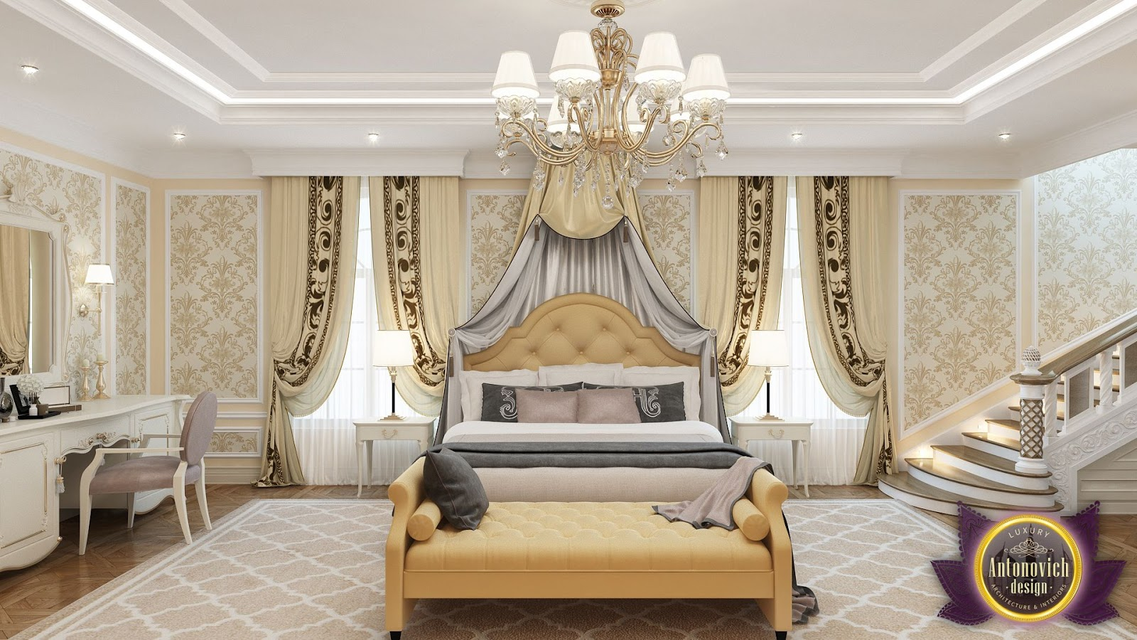Luxury antonovich design uae master bedroom design by katrina antonovich - Bedrooms decoration ...