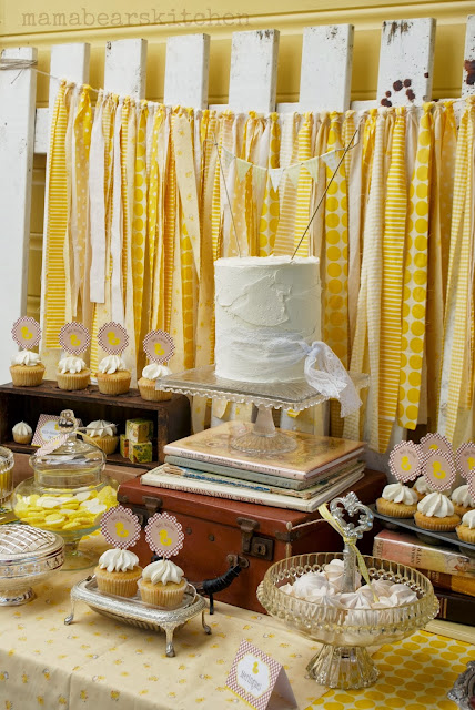 Yellow vintage baby shower party
