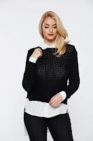 Pulover negru casual tricotat asimetric cu croi larg •