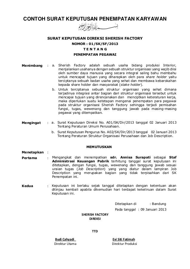 Contoh Sk Surat Keputusan Kumpulan