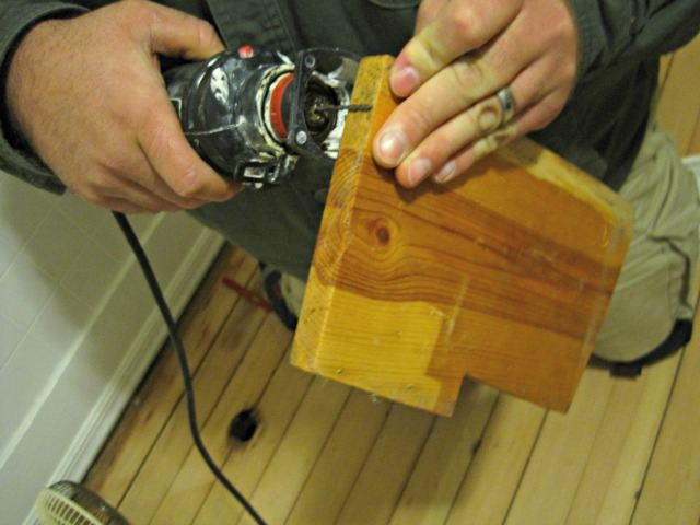 Determine depth to cut hardwood floor making plug scrap wood