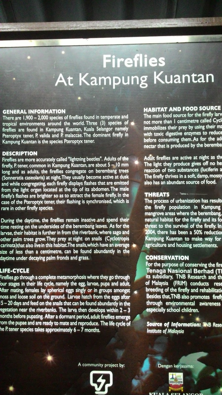 Info board at Kampung Kuantan Fireflies Park