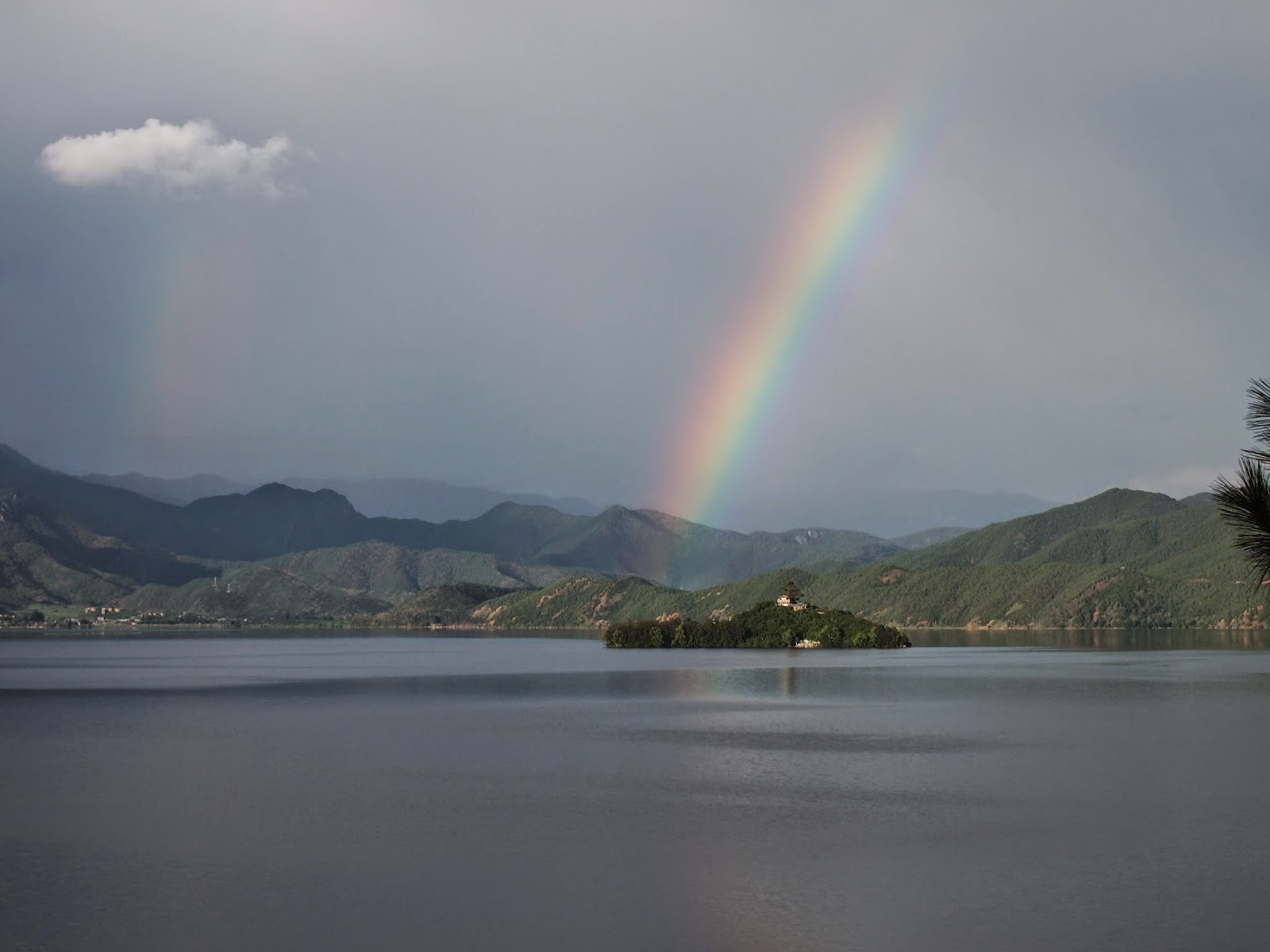 A double rainbow at Lugu Lake