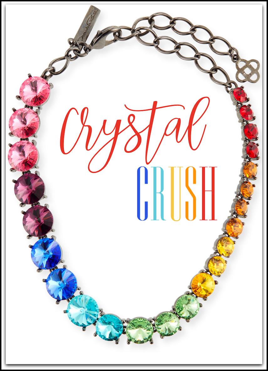 Oscar de la Renta Swarovski Crystal Cascade Rainbow Necklace