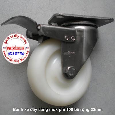 Bánh xe đẩy hàng càng inox Nylon 6 pa colson phi 100 có khóa www.banhxepu.met