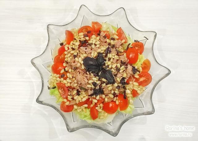 Салат с тунцом, моцареллой и салатом айсберг: пошаговый рецепт с фото