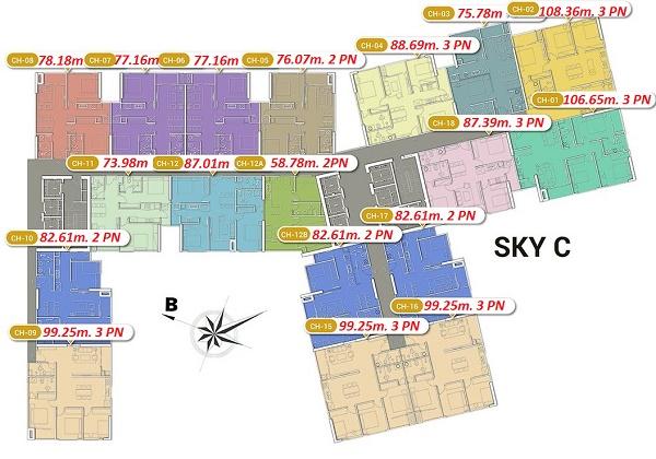 Mặt bằng toà C chung cư Imperia Sky Garden