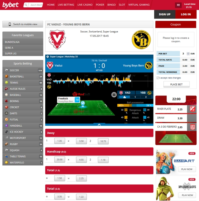 Bybet Live Betting Screen