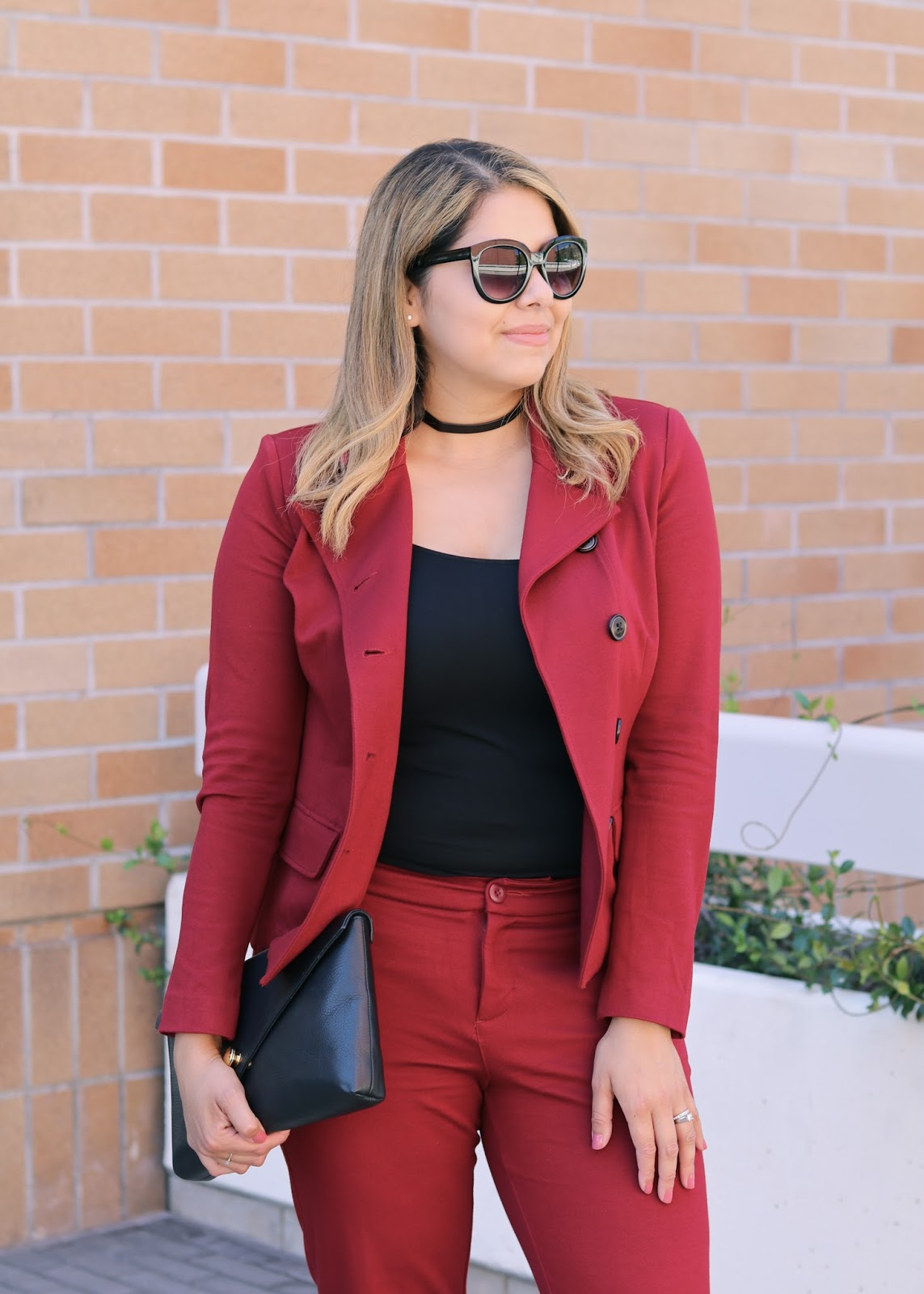 Fall 2016 outfit, black choker in a suit, burgundy suit, deep red suit for women, burgundy suit 2016