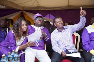 Alfred Mutua with Dr. Kilemi Mwiria launched his gubernatorial campaign on a Maendeleo Chap Chap party ticket in Meru. PHOTO | MCC