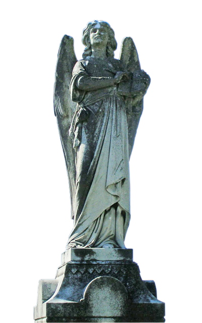 A front view of the angel statue showing more detail than either of the side views.