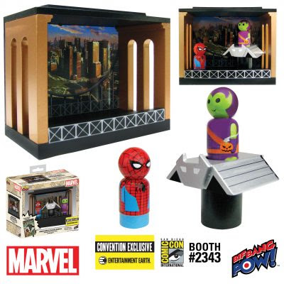 San Diego Comic-Con 2017 Exclusive Marvel Pin Mate Wooden Figure Sets by Bif Bang Pow! x Entertainment Earth - Spider-Man vs Green Goblin & Goblin Glider