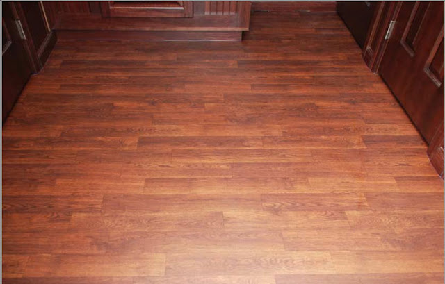 The Oxford Restroom Faux Mahogany Wood Flooring