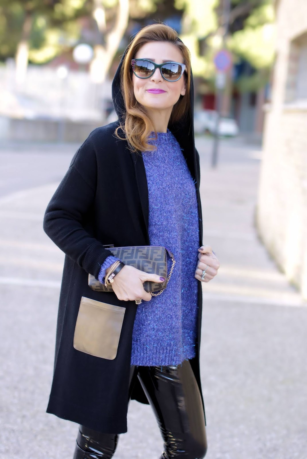 How to wear vinyl pants: my hooded cashmere cardigan from 1.2.3 Paris on Fashion and Cookies fashion blog, fashion blogger