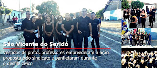 SINPUC protesta através de pelotão de professores em pleno desfile cívico em São Vicente do Seridó