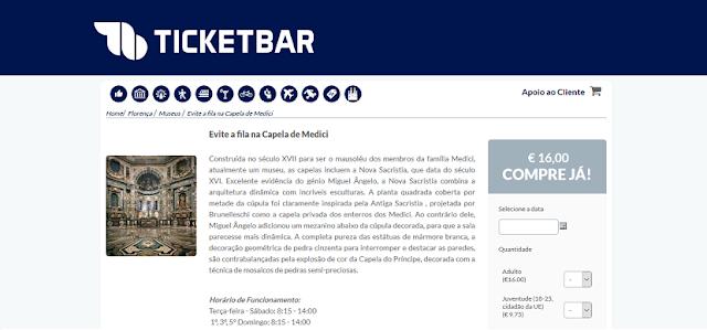 Ticketbar para ingressos para o Evite Fila na Capela de Medici em Florença