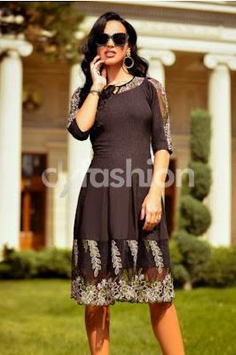 rochie midi neagra in cute office cu broderie in nuante de roz si verde