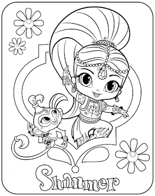 Shimmer and Shine colouring pages