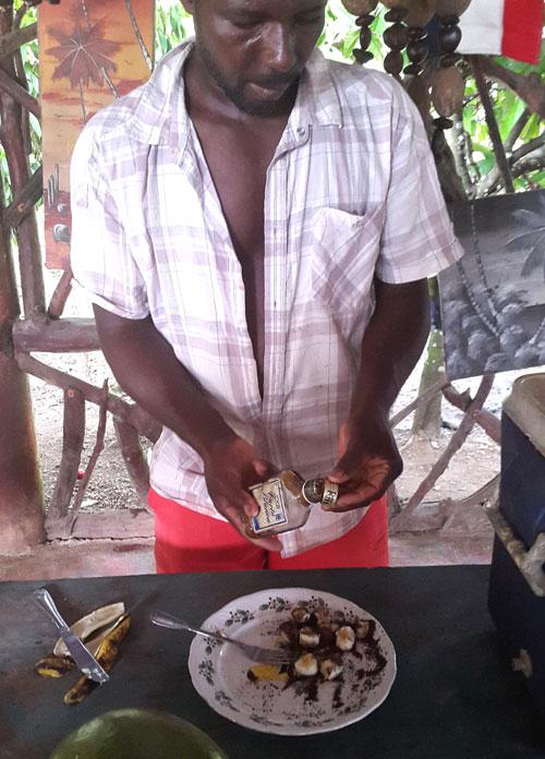 Kaakaojauhetta ja banaania