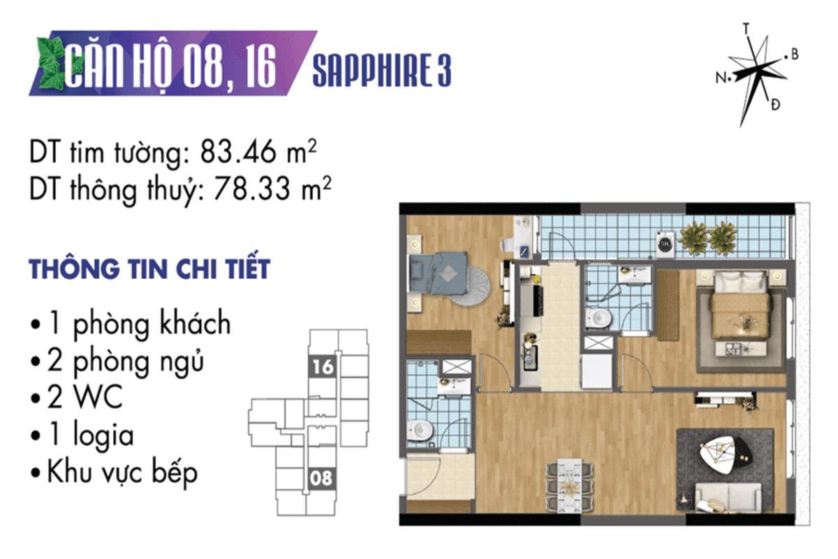 Mặt bằng căn hộ 08 và 16 tòa Sapphire 3