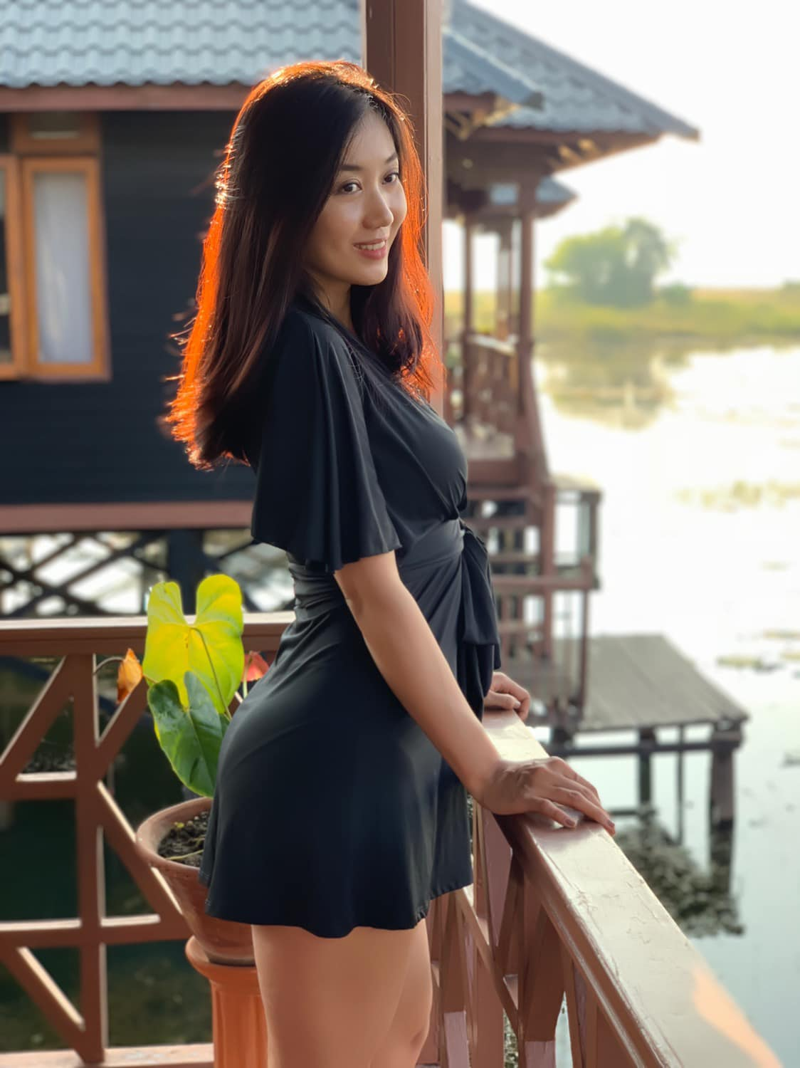 Lu Lu Aung in Black Fashion Outfit