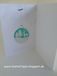 Mini Fensterbild mit Stanze Fröhliche Anhänger vpn Stampin Up! auf einer Karte