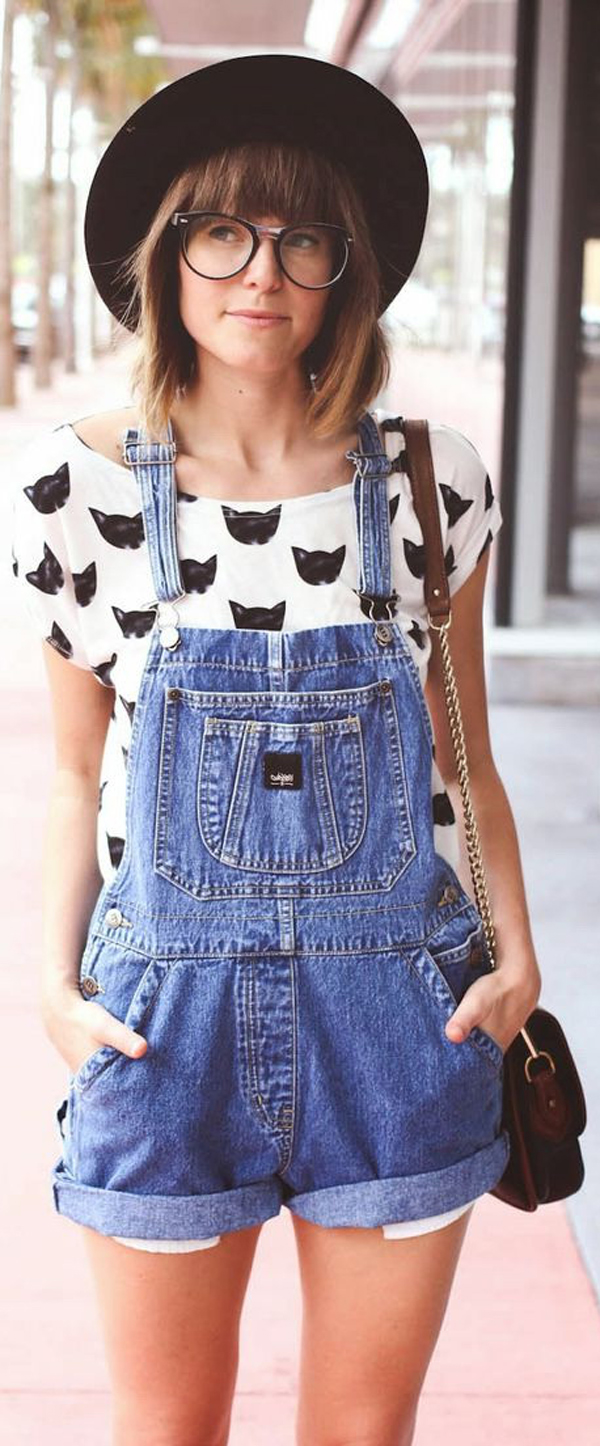 kitty shirt + overalls