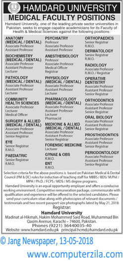 Medical Faculty Positions at Hamdard University