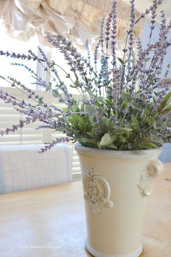 Faux French lavender in a French style ceramic pot looks realistic