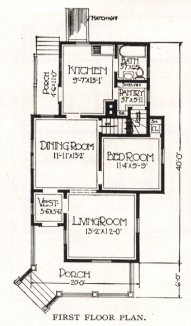 floor plan of first floor of the 1918 Sears Silverdale, showing a bathroom in the back right corner