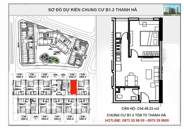 Sơ đồ mặt bằng chi tiết căn hộ C04 tòa T3 chung cư B1.3 Thanh Hà