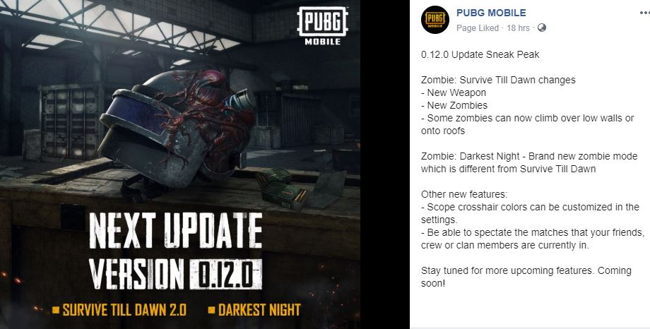 PubG Mobile 0.12.0 Sneak Peek Update