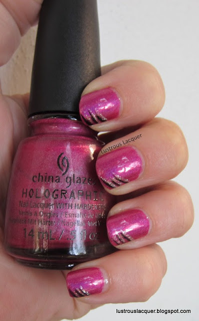 China Glaze Infra Red with nail art