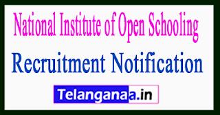 National Institute of Open Schooling NIOS Recruitment Notification 2017