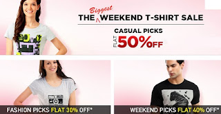 [Hurry!!] Myntra's Biggest Weekend Sale- Flat 50% Discount on Men's / Women's T-Shirts