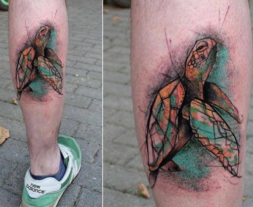 Colorido Esboçou Tartaruga Tatuagem