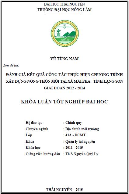 Đánh giá kết quả công tác thực hiện chương trình xây dựng nông thôn mới tại xã Mai Pha tỉnh Lạng Sơn giai đoạn 2012 – 2014